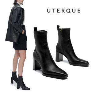【Uterque】HEELED LEATHER ANKLE BOOT