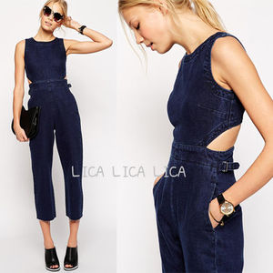 送料無料・国内発送ASOS Wide Leg Cut Out Denim Jumpsuit