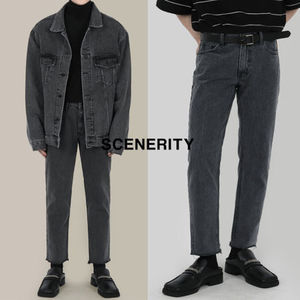 SCENERITY Cutting mid gray jeans