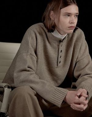 LAFUDGE STORE☆ユニセックス☆Over-Henry Neck knit_全3色
