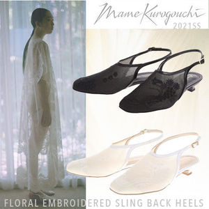 21SS【Mame Kurogouchi /FLORAL EMBROIDERED SLING BACK HEELS】