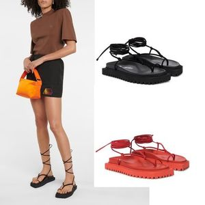 【NEW!】THE ATTICO Lace-up leather thong sandals