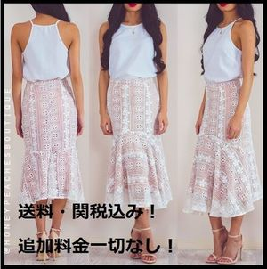 パーティー★Honey Peaches★MY HEART IS YOURS MIDI LACE SKIRT