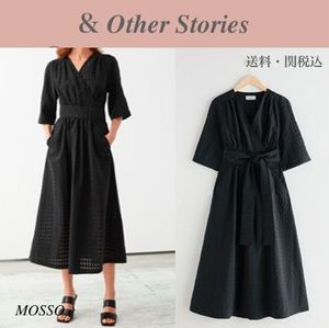 【& Other Stories】魅惑 Belted Pleated Asymmetric Midi Dress