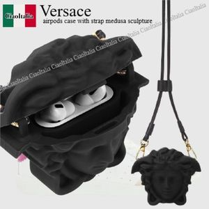 Versace airpods case with strap medusa sculpture