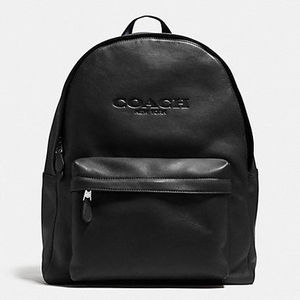 国内即発★COACH★贅沢レザーCampus backpack leather:BLACK