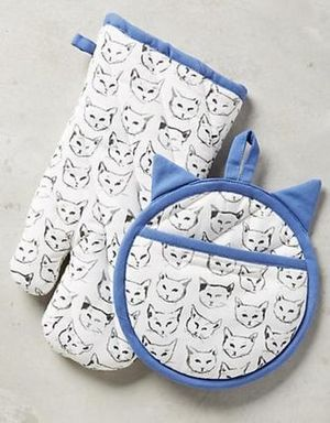 送料無☆Anthropologie☆Cat Study Potholder☆ネコ柄