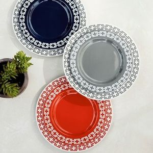 Williams Sonoma★ Link Melamine Charger Navy/Gray/Pink 2set