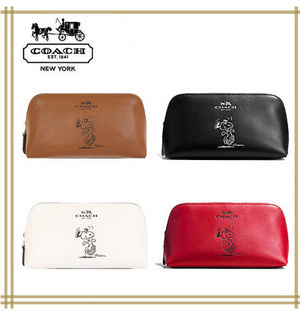 COACH X PEANUTS COSMETIC CASE 17 IN LEATHER F65208 国内発送!