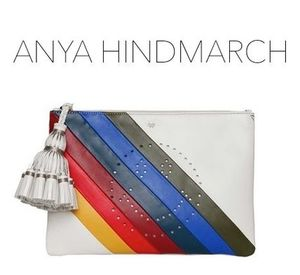 ANYA HINDMARCH クラッチ GEORGIANA STRIPES RAINBOW WINK