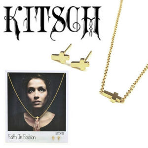 KITSCH FAITH IN FASHION クロスネックレス&ピアスセット