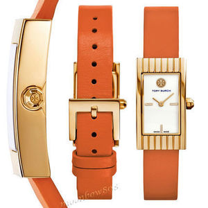 Tory Burch Watch★ BUDDY SIGNATURE Orange レザー