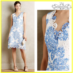 2015最新【Anthropologie】 Starflower Scalloped Dress
