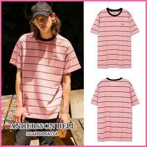 【ANDERSSON BELL】正規品★UNISEXボーダーTシャツPINK/追跡付