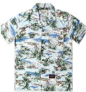 (UNDER AIR) ☆Lonly Island Aloha Shirt(U) - Baby Blue ☆