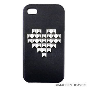 ★超人気・国内発送【enLA】iPhone4S HEART STUDS LEATHER CASE
