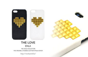 新作★iPhone5s/5対応【ENLA】GOLD HEART STUDDED LEATHER CASE