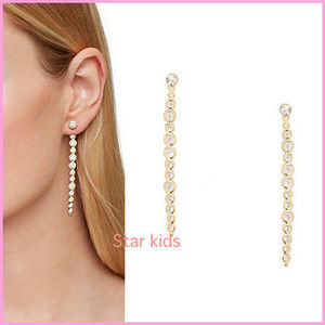 ★kate spade★crystal linear イヤージャケットピアス clear