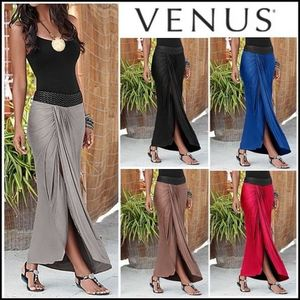 Venus*BRAIDED WAISTBAND MAXI SKIRT