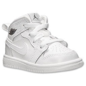 子供用☆Air Jordan Retro 1 Mid Basketball Shoes☆White白☆