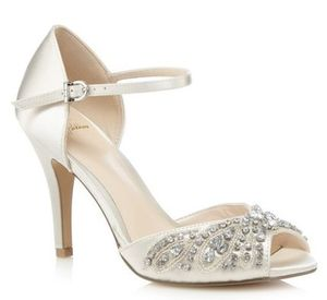 jewel  embellished stiletto sandals  ストラップサンダル