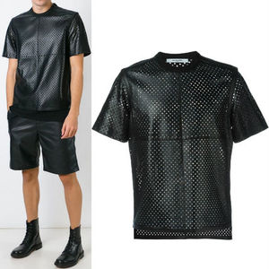 16SS G078 CROSS PERFORATED LEATHER T-SHIRT