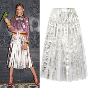 16-17AW WG133 LOOK17 PLEATED METALLIC LEATHER MIDI SKIRT