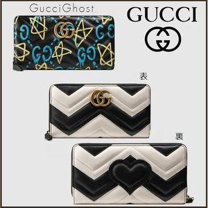 GUCCI 円高還元価格!16AW GHOST/GG Marmount柄 ZIP長財布 追跡有