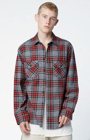 FW16 FOG FEAR OF GOD PLAID FLANNEL LONG SLEEVE BUTTON SHIRT
