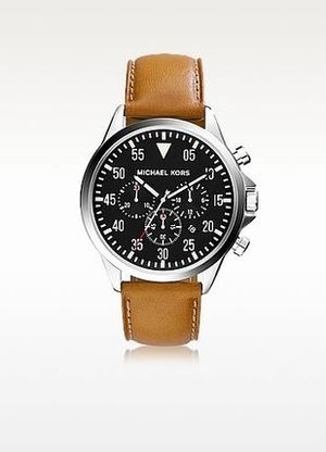 MICHAEL KORS★Gage Silver & Brown Leather Strap Chrono Watch