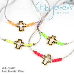 Chibi Jewels B093 neon thread with charm ブレスレット