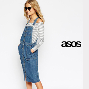 ASOS☆エイソス Denim Midi Pinafore Dress With Raw Hem