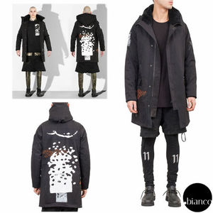 関税送料込11 BY BORIS BIDJAN SABERI BLACK HOOD COAT SHEARING