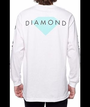 【送料無料】Diamond Supply Solid White Long Sleeve T-Shirt