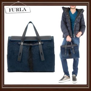 【FURLA】Fur and leather handbag★国内発送