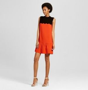 Target X Victoria Beckham Orange Drop Waist Scallop Dress