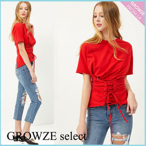 【GROWZE select】新作☆レースアップ コルセット風 Tシャツ 赤