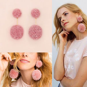 DOUBLE POM POM EARRINGS - PINK★間税込 国内発
