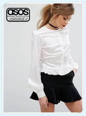 日本未入荷☆ASOS☆Fashion Union Peplum Hem TieUp Satin Shirt