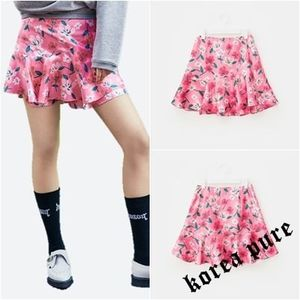 【8 X GD's PICK 】 Floral Flare Mini Skirt _GD Collaboration