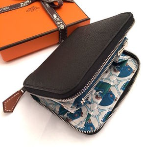 "HERMES 2017""TATERSALE""Portefeuille COMPACT Silk'in/NOIR"