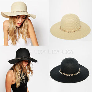 送料無料・国内発送 ASOS Straw Floppy Hat With Coin Trim