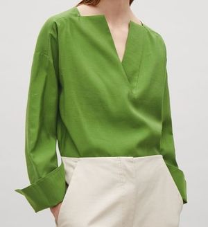 """COS""V-NECK TOP WITH INSERT DETAIL FORESTGREEN"