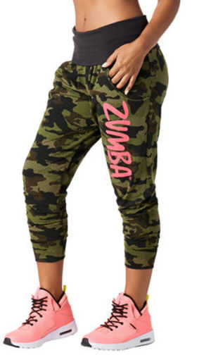 ♪ZUMBAズンバThrowback Camo Cropped Harem Pant-Safari