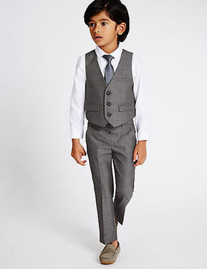 【M&S】 Boy's フォーマルスーツ4点セット  2-5y  Grey Mix