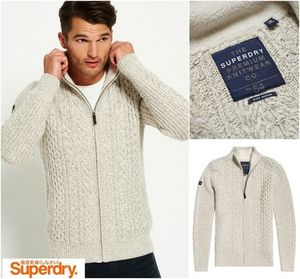 【Superdry】Mariner Zip Through Cardigan ウール入りカーデ