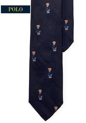 【Ralph Lauren】Polo Bear Silk Repp Narrow Tie