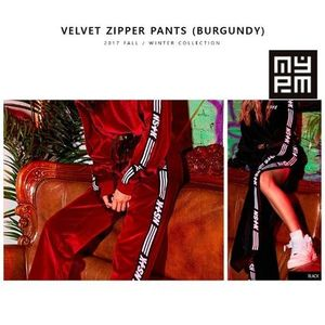 新作★NASTY PALM(ネスティパム★VELVET ZIPPER PANTS(BURGUNDY