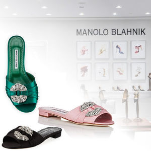 【MANOLO BLAHNIK】 Pralina Satin Slide Sandals