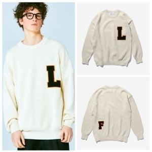 日本未入荷LIFUL(ライフル)のCOLLEGE LOGO PATCHED KNIT SWEATER